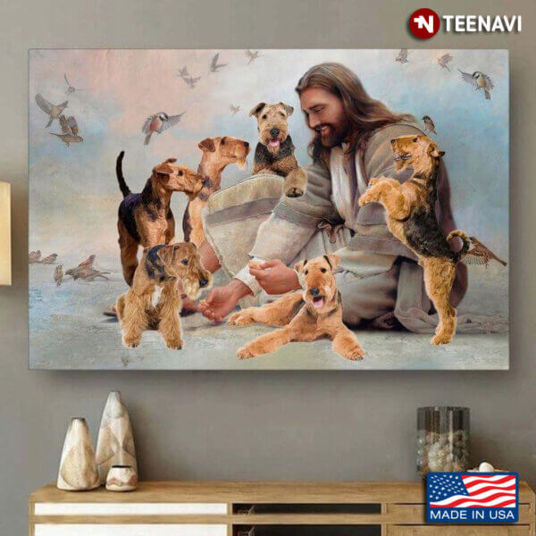 Vintage Smiling Jesus Christ Playing With Scottish Terrier Dogs And Birds Flying Around