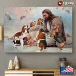 Vintage Smiling Jesus Christ Playing With Beagle Dogs And Birds Flying Around