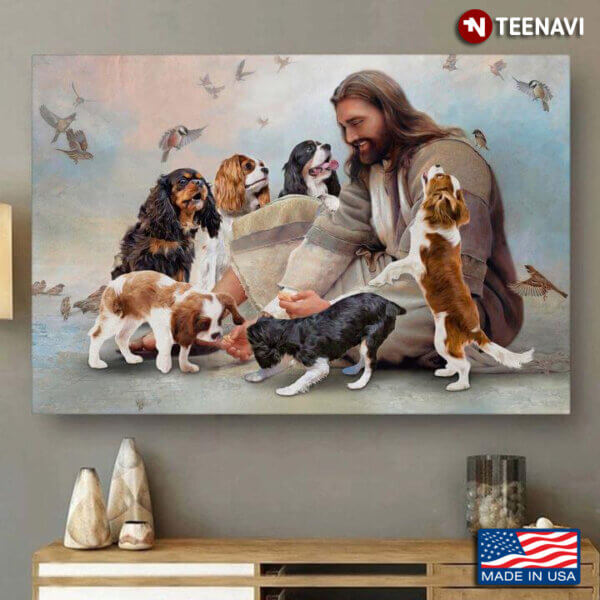 Vintage Smiling Jesus Christ Playing With Cavalier King Charles Spaniel Dogs And Birds Flying Around