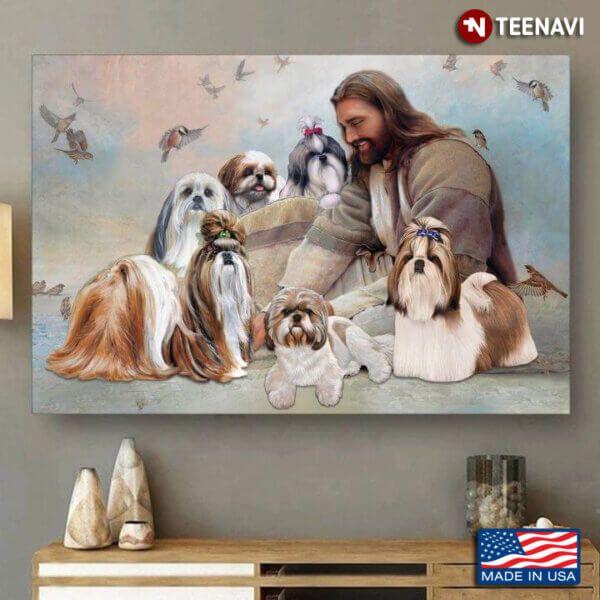 Vintage Smiling Jesus Christ Playing With Shih Tzu Dogs And Birds Flying Around