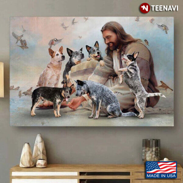 Vintage Smiling Jesus Christ Playing With Heeler Dogs And Birds Flying Around