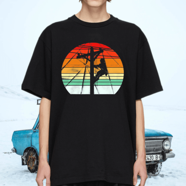 Lineman Retro Style Electrician Support Your Local Pole TShirt