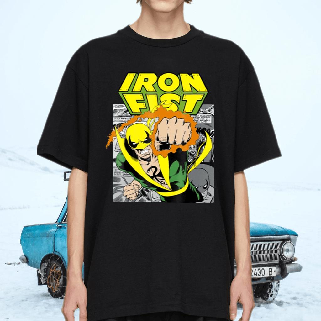 Marvel Iron Fist Retro Comic Panel Art Punch Graphic TeeShirt