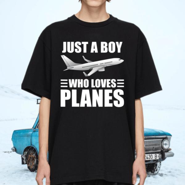 Just A Boy Who Loves Planes Pilot Aviation TShirt